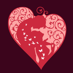 Loving couple inside decorative heart with swirls and white butterflies. Red colored silhouette on dark background. For wedding and Valentine day cards and invitations.