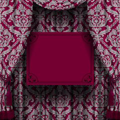 Dark red curtain with gray ornament and suspended sign