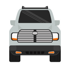 grey truck car frontview icon image vector illustration design
