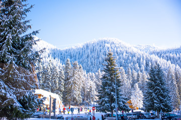 mountain ski resort with people, Romania,Transylvania, Brasov, P