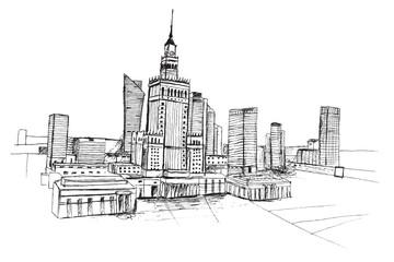 Panorama miasta Warszawa. Rysunek ręcznie rysowany czarnym piórkiem na białym tle.