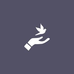 dove icon. peace sign