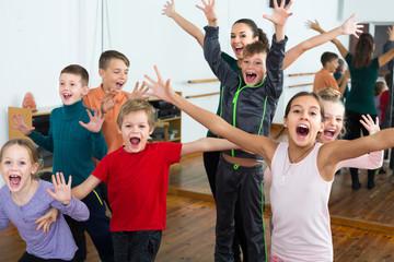 Young children  in dance studio having fun