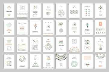 Huge collection of cute holiday cards and invitations with geometric patterns
