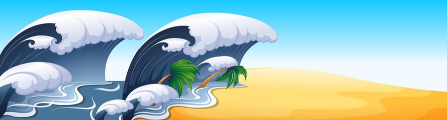 Ocean scene with big waves