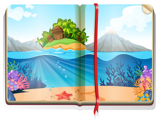 Scene with island in the ocean in the book