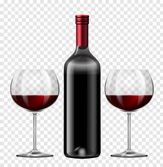 Two glasses of red wine and bottle of wine