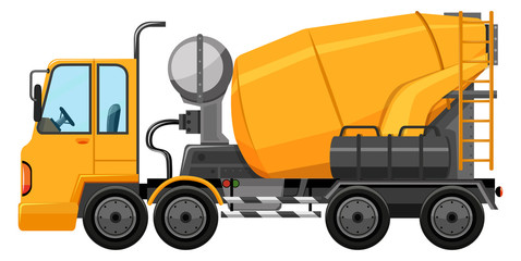 Cement truck in yellow color