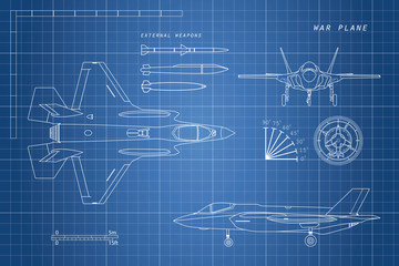 Drawing of military aircraft. Top, side, front views. Fighter je