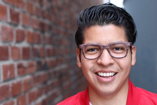 Natural young man smiling close up