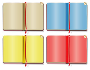Four different color pages in the books