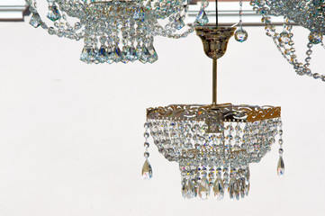 crystal chandeliers. a piece of a homogeneous solid substance ha