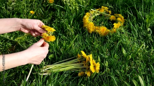 Wreath of dandelions and bouquet of dandelions on green grass