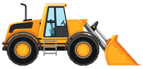 Bulldozer without driver on white background