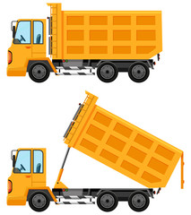 Dumping trucks in yellow color