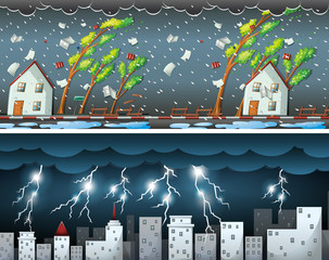 Two scenes with thunders and storms