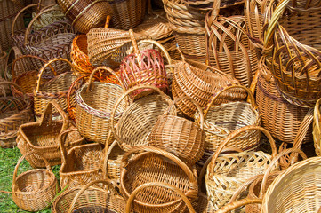 baskets woven from willow twigs. a container used to hold or car