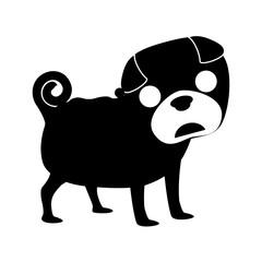 silhouette of dog animal over white background. vector illustration