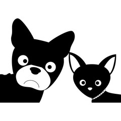 silhouette of dogs animals over white background. vector illustration