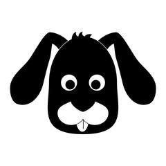 dog face icon over white background. black and white design. vector illustration