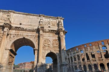 Roma, Fori Imperiali: Arco di Costantino e Colosseo