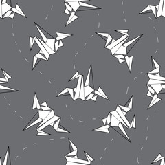 seamless background white origami crane on a gray