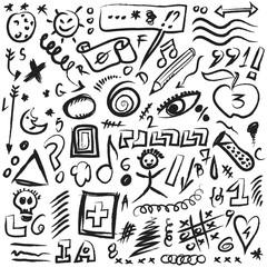 set scribbles symbols, shapes, lines and curves, design element