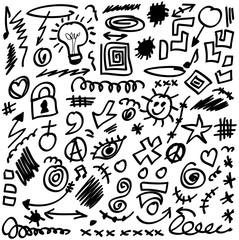 set doodle design elements,  shapes