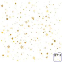 Gold Star Falling Print. Yellow Starry Background. Vector Confet
