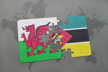 puzzle with the national flag of wales and mozambique on a world map