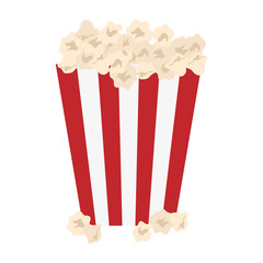 popcorn in striped container icon image vector illustration design