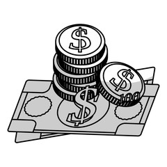 money bills and coins over white background. vector illustration