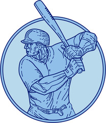 Baseball Player Batter Batting Circle Mono Line