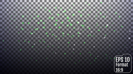 Vector white and green glitter particles background effect for l