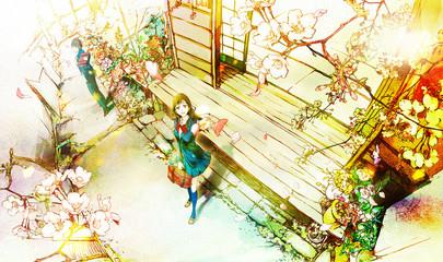 桜を見上げる男女(入学式・新学期)