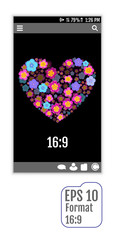 Abstract user interface templates of flowers Heart. 3d effect. F