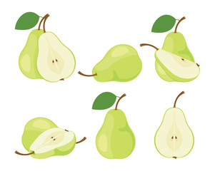 Pears. Cut green pear fruits. Collection of vector illustrations