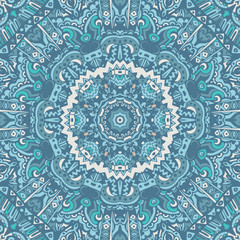 Abstract blue seamless ornamental vector pattern
