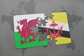puzzle with the national flag of wales and brunei on a world map