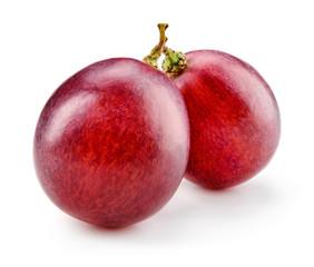 Fototapete - Ripe red grape. Two berries isolated on white. Macro. Full depth