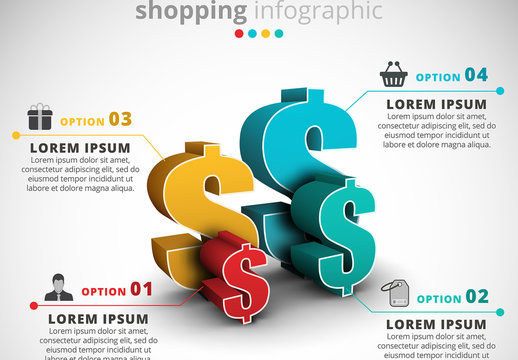 Shopping Infographic with 3D Dollar Sign Illustration