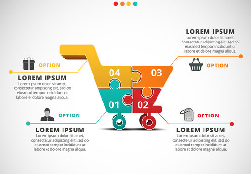 Shopping Infographic with Cart Illustration