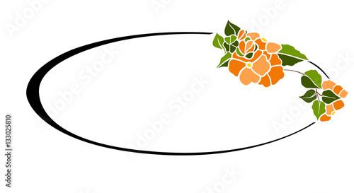 Cornice Liberty Ovale Fiore Arancione Immagini E Vettoriali Royalty