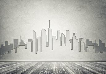 City design on wall