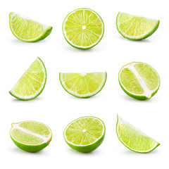 Lime. Fresh fruit isolated on white background. Slice, piece, ha