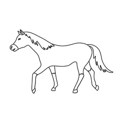 Horse icon in outline style isolated on white background. Hippodrome and horse symbol stock vector illustration.