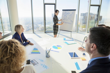 Businesswoman explaining business strategy to colleague in office