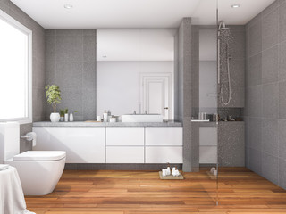 3d rendering tropical and modern style wood bathroom near window
