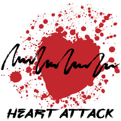 Creative hand drawn heart attack cardiology logotype with splashes in shape of red heart symbolizing heart attack, isolated on white background. Vector illustration