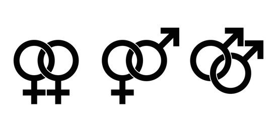 Gender identity symbols based on astrological symbols, Mars for male, Venus for female. Interlocked signs for heterosexuality, female and male homosexuality. Illustration on white background. Vector.